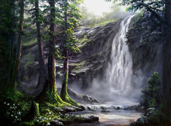 Landscape waterfall painting oil