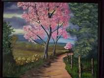 Landscape painting of pink tree